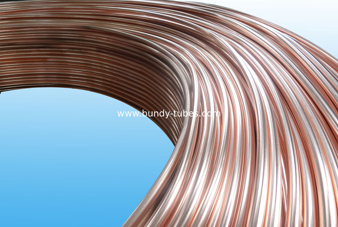 0.55mm Low Carbon Copper Coated Bundy Tube For Freezer , Bundy Tubing Company